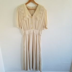 Vtg Jane Singer Butter Cream Lace Tea Dress Sz 14
